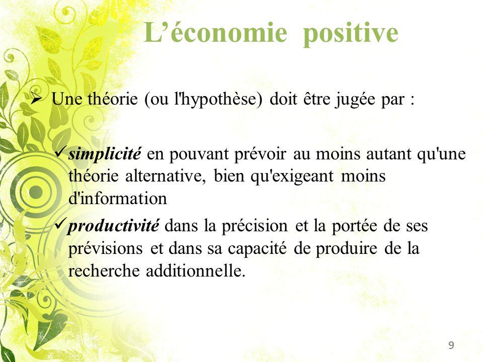 Léconomie positive Une théorie (ou l'hypothèse) doit être jugée par : simplicité en pouvant prévoir au moins autant qu'une théorie alternative, bien q