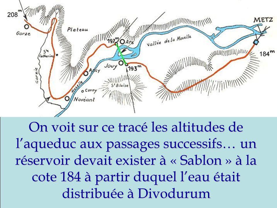 On voit sur ce tracé les altitudes de laqueduc aux passages successifs… un réservoir devait exister à « Sablon » à la cote 184 à partir duquel leau ét