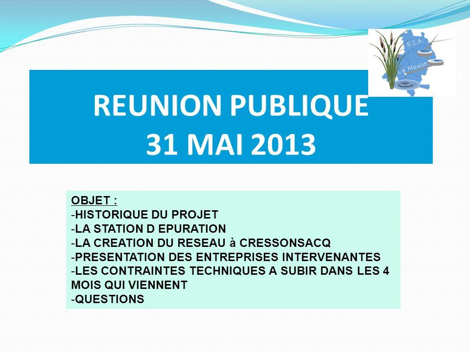 REUNION PUBLIQUE 31 MAI 2013 OBJET : -HISTORIQUE DU PROJET -LA STATION D EPURATION -LA CREATION DU RESEAU à CRESSONSACQ -PRESENTATION DES ENTREPRISES INTERVENANTES -LES CONTRAINTES TECHNIQUES A SUBIR DANS LES 4 MOIS QUI VIENNENT -QUESTIONS