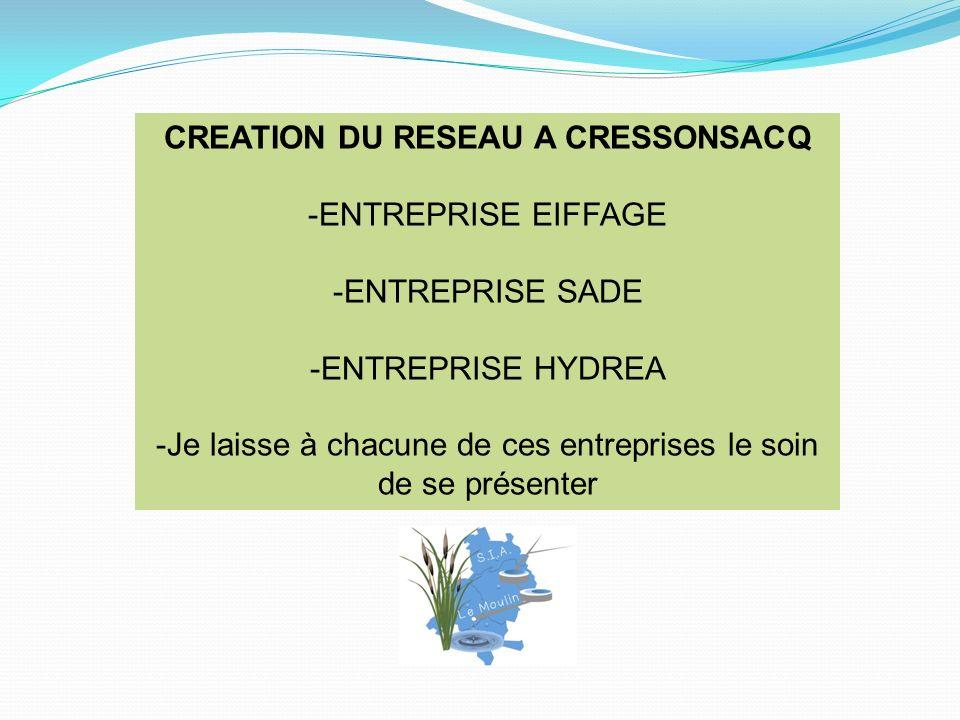 CREATION DU RESEAU A CRESSONSACQ -ENTREPRISE EIFFAGE -ENTREPRISE SADE -ENTREPRISE HYDREA -Je laisse à chacune de ces entreprises le soin de se présenter