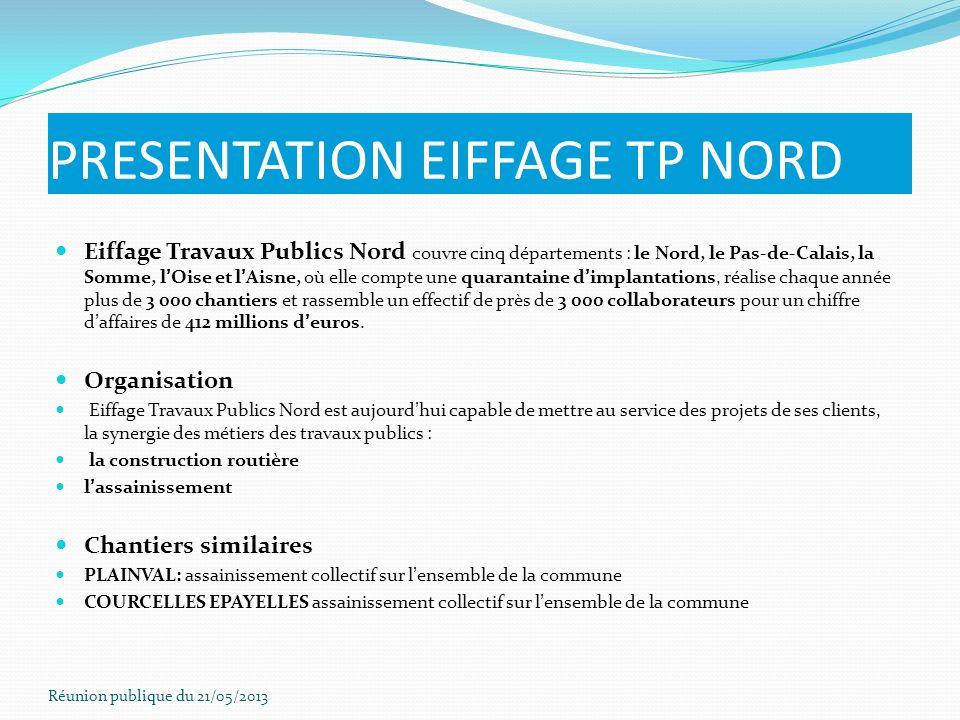 PRESENTATION EIFFAGE TP NORD Eiffage Travaux Publics Nord couvre cinq départements : le Nord, le Pas-de-Calais, la Somme, lOise et lAisne, où elle com