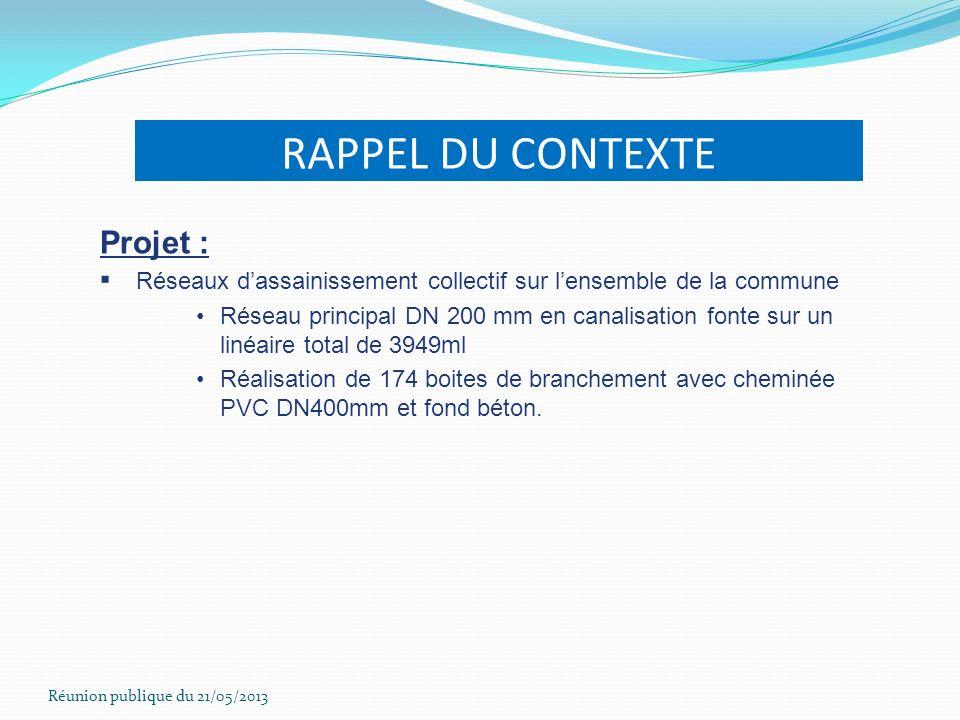 Réunion publique du 21/05/2013 RAPPEL DU CONTEXTE Projet : Réseaux dassainissement collectif sur lensemble de la commune Réseau principal DN 200 mm en