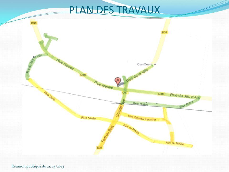 Réunion publique du 21/05/2013 PLAN DES TRAVAUX