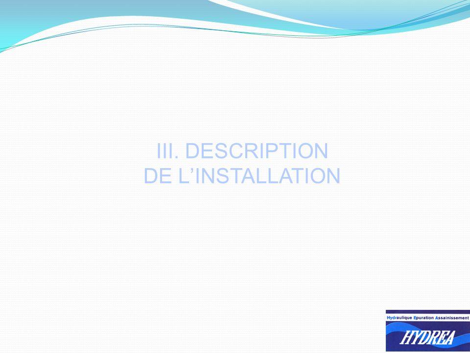 III. DESCRIPTION DE LINSTALLATION