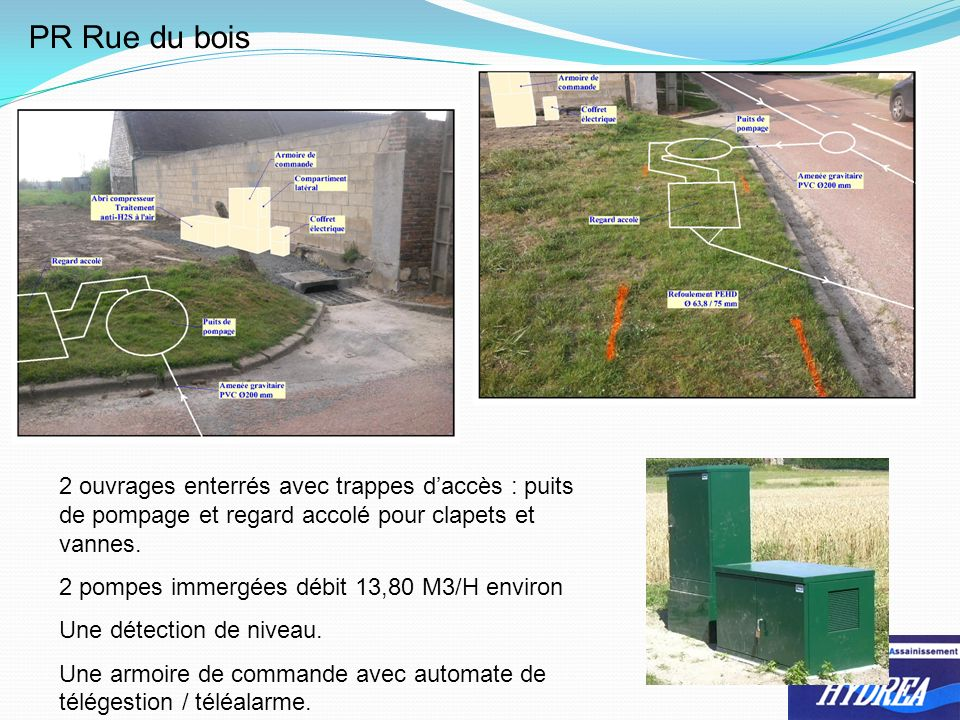 PR Rue du bois 2 ouvrages enterrés avec trappes daccès : puits de pompage et regard accolé pour clapets et vannes. 2 pompes immergées débit 13,80 M3/H