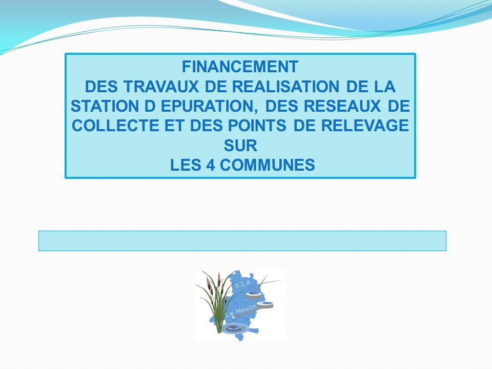 FINANCEMENT DES TRAVAUX DE REALISATION DE LA STATION D EPURATION, DES RESEAUX DE COLLECTE ET DES POINTS DE RELEVAGE SUR LES 4 COMMUNES