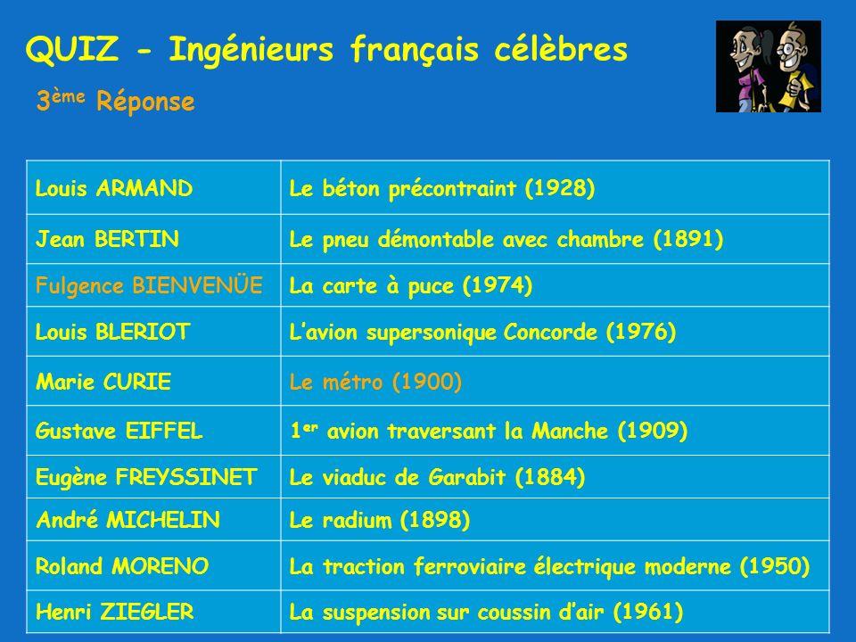 QUIZ - Ingénieurs français célèbres 3 ème Réponse Louis ARMANDLe béton précontraint (1928) Jean BERTINLe pneu démontable avec chambre (1891) Fulgence