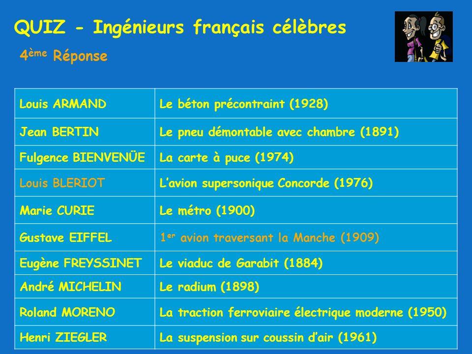 QUIZ - Ingénieurs français célèbres 4 ème Réponse Louis ARMANDLe béton précontraint (1928) Jean BERTINLe pneu démontable avec chambre (1891) Fulgence