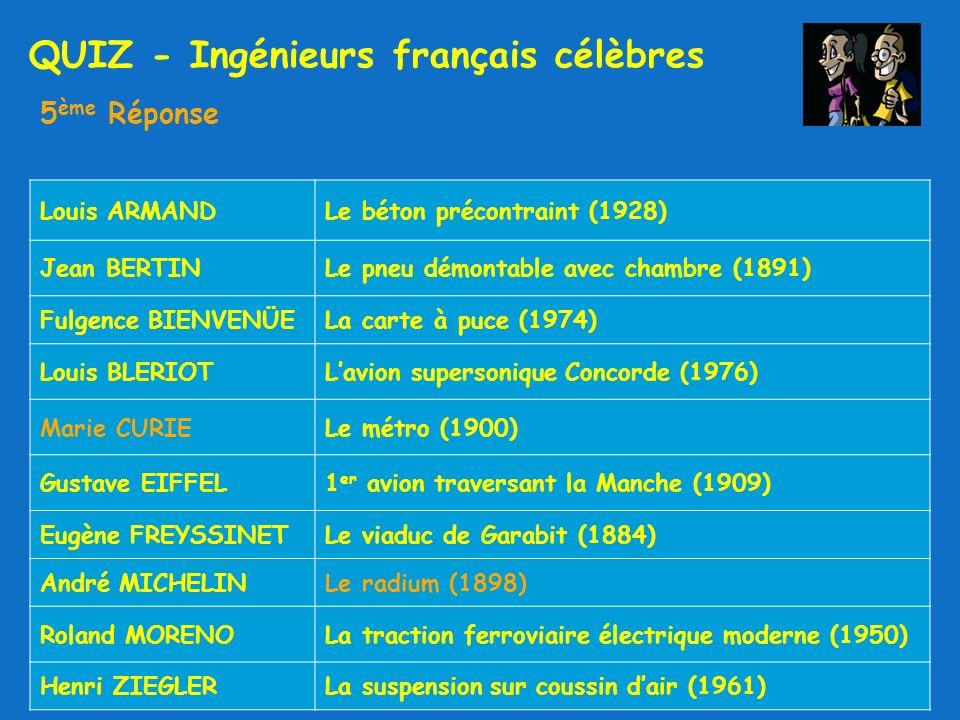 QUIZ - Ingénieurs français célèbres 5 ème Réponse Louis ARMANDLe béton précontraint (1928) Jean BERTINLe pneu démontable avec chambre (1891) Fulgence