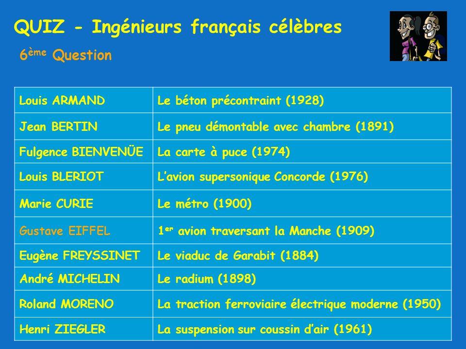 QUIZ - Ingénieurs français célèbres 6 ème Question Louis ARMANDLe béton précontraint (1928) Jean BERTINLe pneu démontable avec chambre (1891) Fulgence BIENVENÜELa carte à puce (1974) Louis BLERIOTLavion supersonique Concorde (1976) Marie CURIELe métro (1900) Gustave EIFFEL1 er avion traversant la Manche (1909) Eugène FREYSSINETLe viaduc de Garabit (1884) André MICHELINLe radium (1898) Roland MORENOLa traction ferroviaire électrique moderne (1950) Henri ZIEGLERLa suspension sur coussin dair (1961)