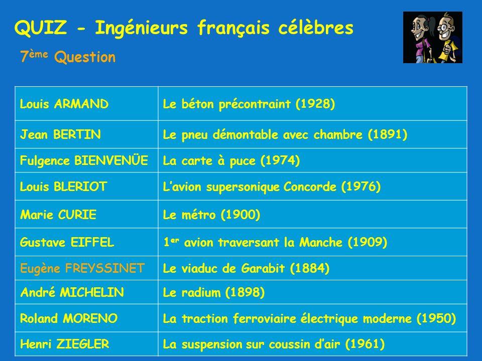 QUIZ - Ingénieurs français célèbres 7 ème Question Louis ARMANDLe béton précontraint (1928) Jean BERTINLe pneu démontable avec chambre (1891) Fulgence BIENVENÜELa carte à puce (1974) Louis BLERIOTLavion supersonique Concorde (1976) Marie CURIELe métro (1900) Gustave EIFFEL1 er avion traversant la Manche (1909) Eugène FREYSSINETLe viaduc de Garabit (1884) André MICHELINLe radium (1898) Roland MORENOLa traction ferroviaire électrique moderne (1950) Henri ZIEGLERLa suspension sur coussin dair (1961)