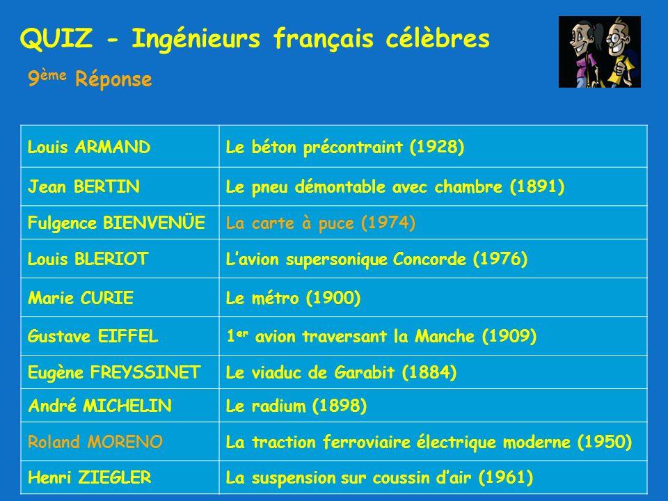 QUIZ - Ingénieurs français célèbres 9 ème Réponse Louis ARMANDLe béton précontraint (1928) Jean BERTINLe pneu démontable avec chambre (1891) Fulgence