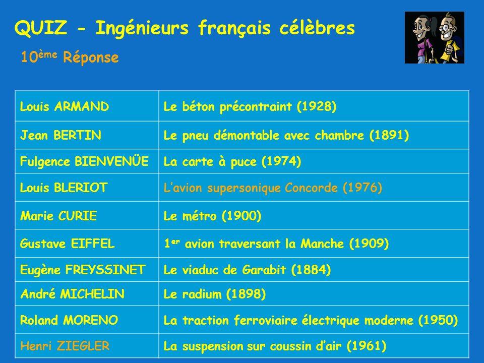 QUIZ - Ingénieurs français célèbres 10 ème Réponse Louis ARMANDLe béton précontraint (1928) Jean BERTINLe pneu démontable avec chambre (1891) Fulgence