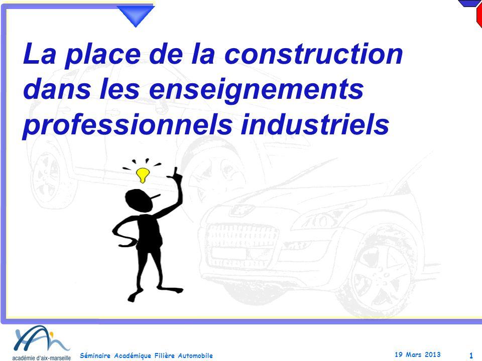 1 Séminaire Académique Filière Automobile 19 Mars 2013 La place de la construction dans les enseignements professionnels industriels