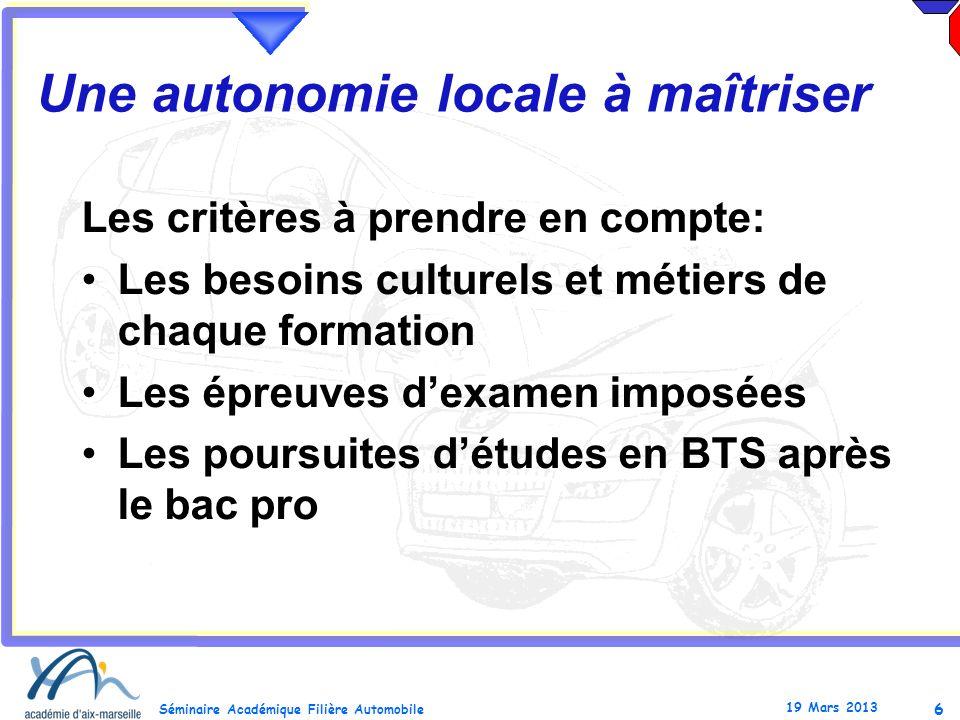 6 Séminaire Académique Filière Automobile 19 Mars 2013 Une autonomie locale à maîtriser Les critères à prendre en compte: Les besoins culturels et mét