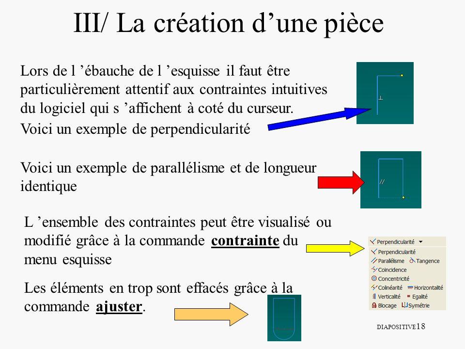 DIAPOSITIVE 18 III/ La création dune pièce Lors de l ébauche de l esquisse il faut être particulièrement attentif aux contraintes intuitives du logici