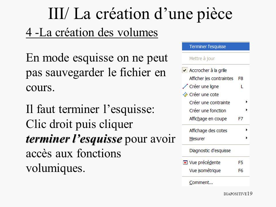 DIAPOSITIVE 19 III/ La création dune pièce 4 -La création des volumes En mode esquisse on ne peut pas sauvegarder le fichier en cours. terminer lesqui