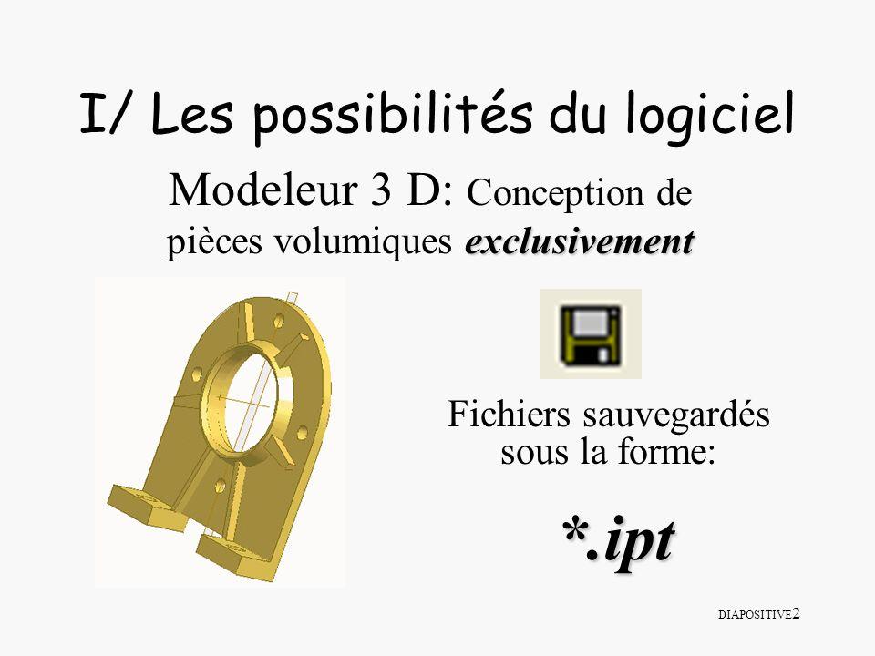 DIAPOSITIVE 3 I/ Les possibilités du logiciel Création densembles complets en appliquant des contraintes au positionnement relatif des pièces Fichiers sauvegardés sous la forme: *.iam