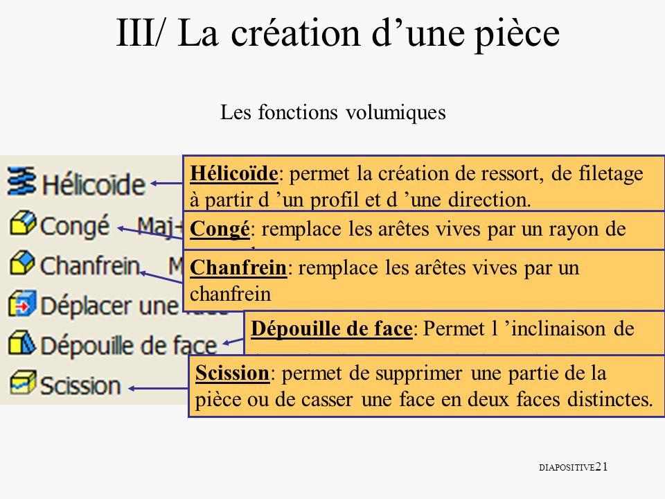 DIAPOSITIVE 21 III/ La création dune pièce Les fonctions volumiques Hélicoïde: permet la création de ressort, de filetage à partir d un profil et d un