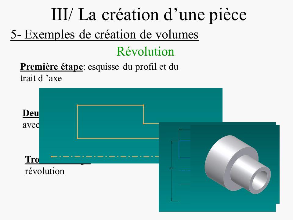 DIAPOSITIVE 24 III/ La création dune pièce 5- Exemples de création de volumes Révolution Première étape: esquisse du profil et du trait d axe Deuxième