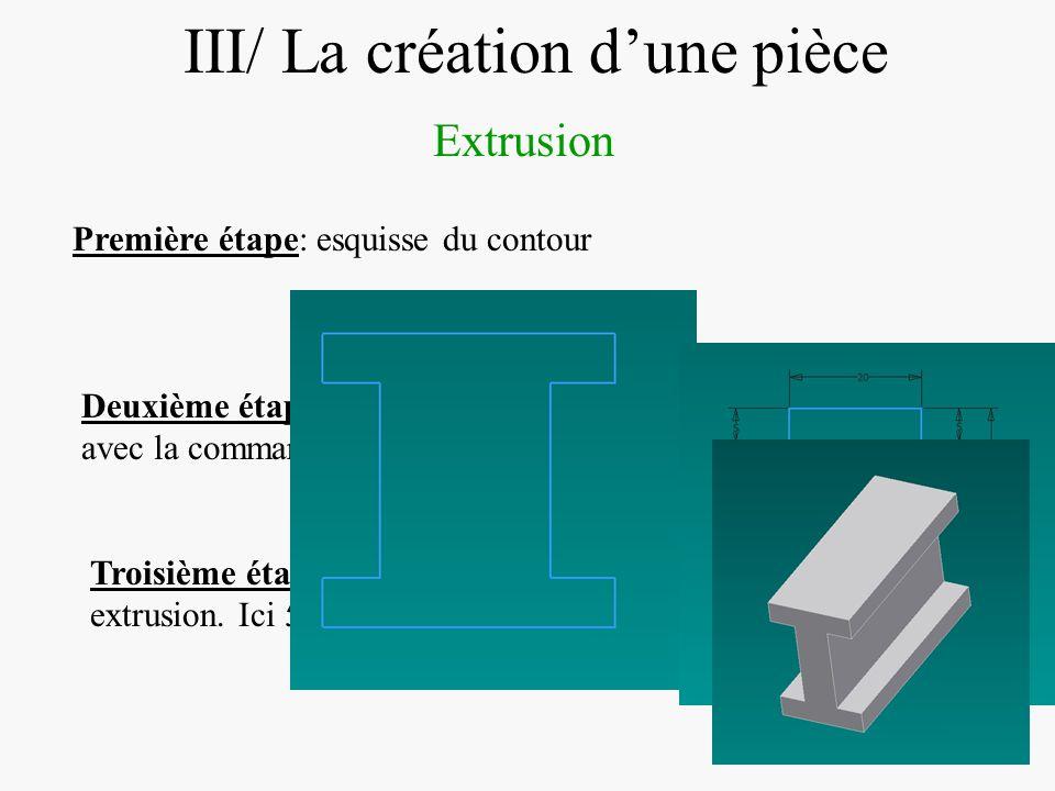 DIAPOSITIVE 25 III/ La création dune pièce Extrusion Première étape: esquisse du contour Deuxième étape: Contraindre l esquisse avec la commande cotat