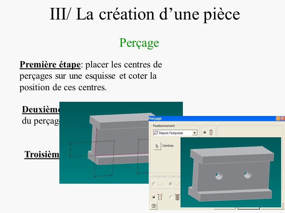DIAPOSITIVE 26 III/ La création dune pièce Perçage Première étape: placer les centres de perçages sur une esquisse et coter la position de ces centres