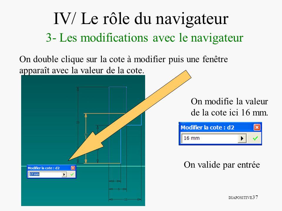 DIAPOSITIVE 37 IV/ Le rôle du navigateur 3- Les modifications avec le navigateur On double clique sur la cote à modifier puis une fenêtre apparaît ave