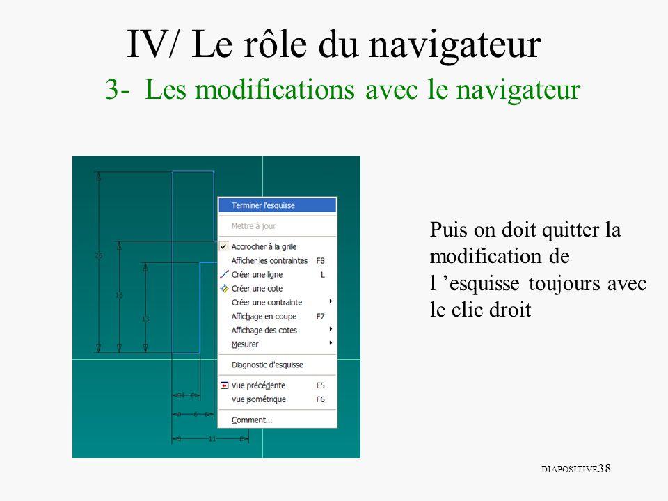 DIAPOSITIVE 38 IV/ Le rôle du navigateur 3- Les modifications avec le navigateur Puis on doit quitter la modification de l esquisse toujours avec le c