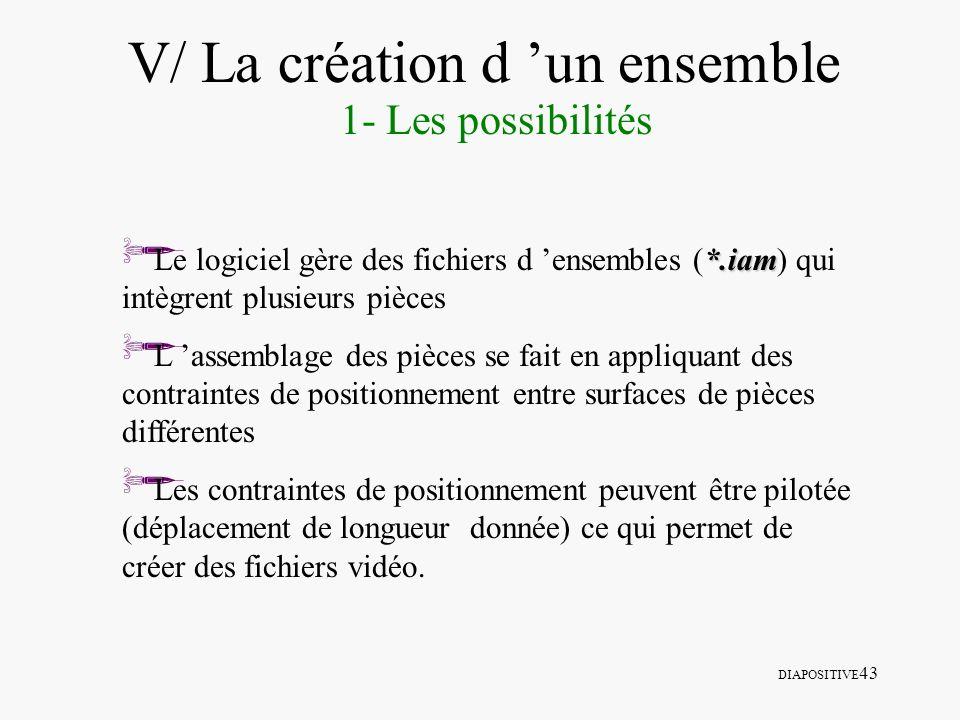 DIAPOSITIVE 43 V/ La création d un ensemble 1- Les possibilités *.iam Le logiciel gère des fichiers d ensembles (*.iam) qui intègrent plusieurs pièces
