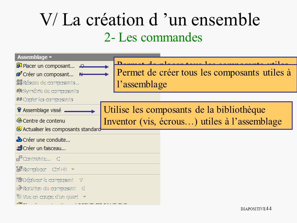 DIAPOSITIVE 44 V/ La création d un ensemble 2- Les commandes Permet de placer tous les composants utiles à lassemblage Permet de créer tous les compos
