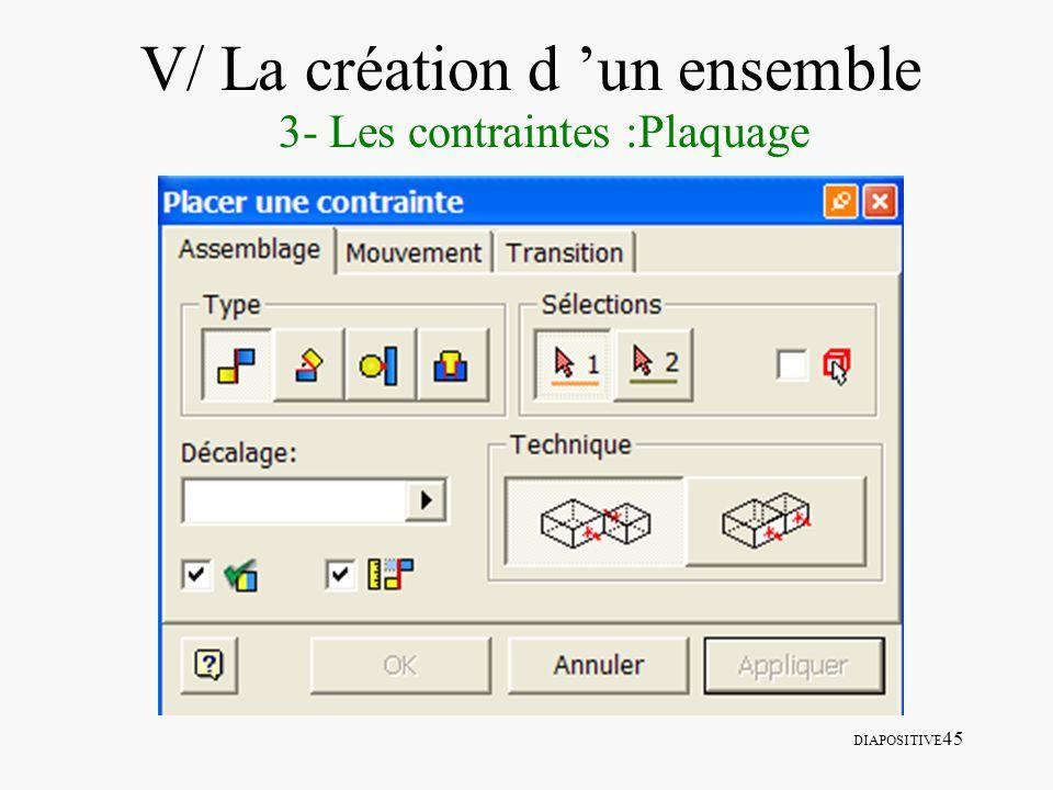 DIAPOSITIVE 45 V/ La création d un ensemble 3- Les contraintes :Plaquage