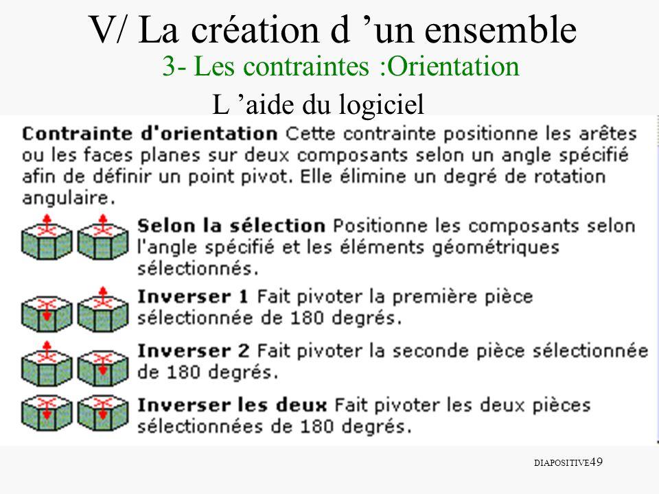 DIAPOSITIVE 49 V/ La création d un ensemble 3- Les contraintes :Orientation L aide du logiciel