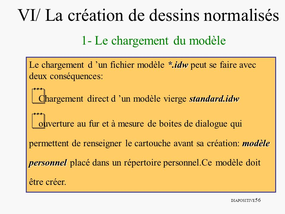 DIAPOSITIVE 56 VI/ La création de dessins normalisés 1- Le chargement du modèle *.idw Le chargement d un fichier modèle *.idw peut se faire avec deux