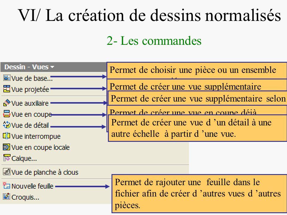 DIAPOSITIVE 58 VI/ La création de dessins normalisés 2- Les commandes Permet de choisir une pièce ou un ensemble et une vue associée. Permet de créer