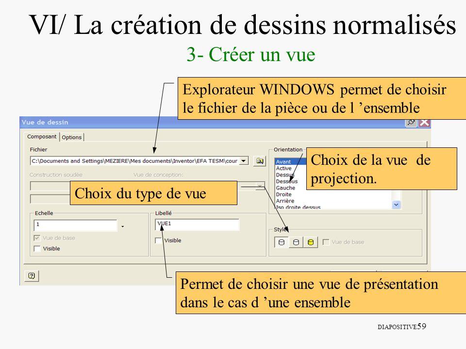DIAPOSITIVE 59 VI/ La création de dessins normalisés 3- Créer un vue Explorateur WINDOWS permet de choisir le fichier de la pièce ou de l ensemble Per