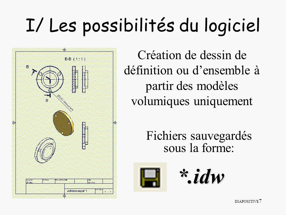 DIAPOSITIVE 7 I/ Les possibilités du logiciel Création de dessin de définition ou densemble à partir des modèles volumiques uniquement Fichiers sauveg