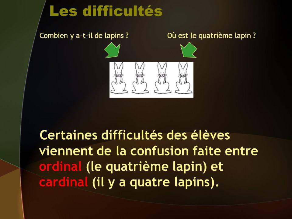 Les difficultés Certaines difficultés des élèves viennent de la confusion faite entre ordinal (le quatrième lapin) et cardinal (il y a quatre lapins).