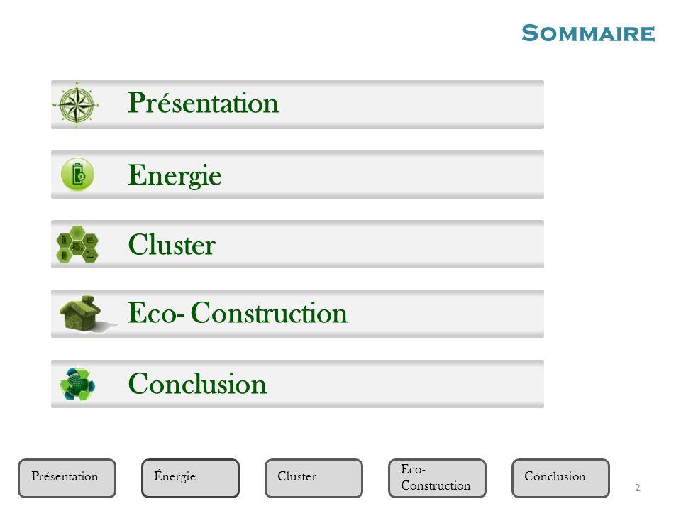 Présentation Eco- Construction ClusterÉnergieConclusion Présentation Energie Cluster Eco- Construction Conclusion Sommaire 2