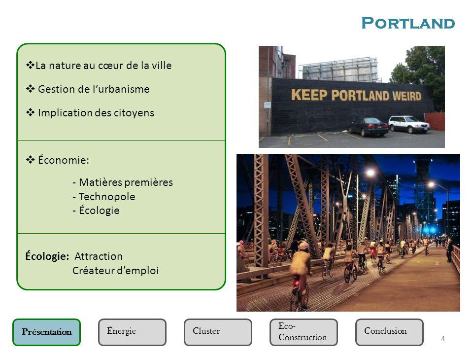 5 Présentation Eco- Construction Cluster Énergie Conclusion Energie utilisée à Portland et dans les environs : Fossile : charbon, gaz naturel Renouvelable : hydroélectrique, éolienne, etc.
