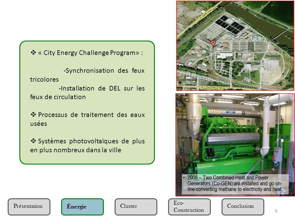 7 Présentation Eco- Construction Cluster ÉnergieConclusion Cluster « Clean-Tech » -Allégement des taxes à Portland implantation des deux leaders mondiaux de lénergie solaire : Vesta et Iberdrola ainsi que plus de quarante autres entreprises.