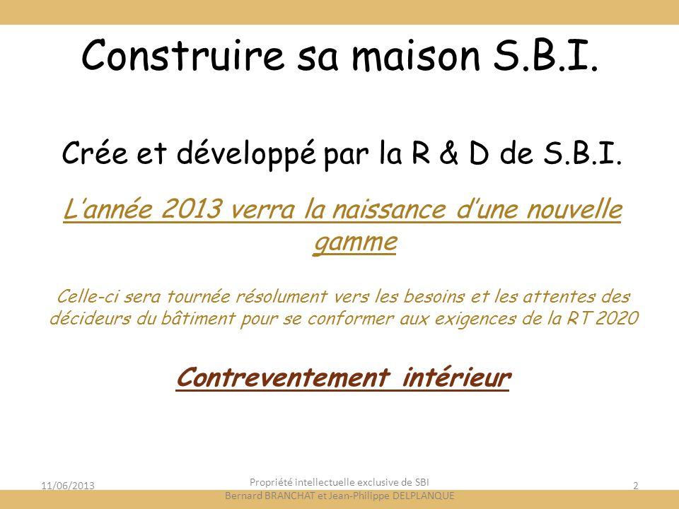 11/06/20132 Construire sa maison S.B.I. Crée et développé par la R & D de S.B.I. Lannée 2013 verra la naissance dune nouvelle gamme Celle-ci sera tour