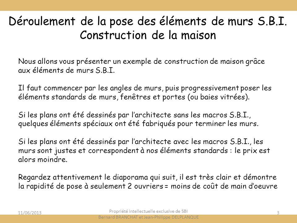 11/06/20133 Déroulement de la pose des éléments de murs S.B.I. Construction de la maison Nous allons vous présenter un exemple de construction de mais