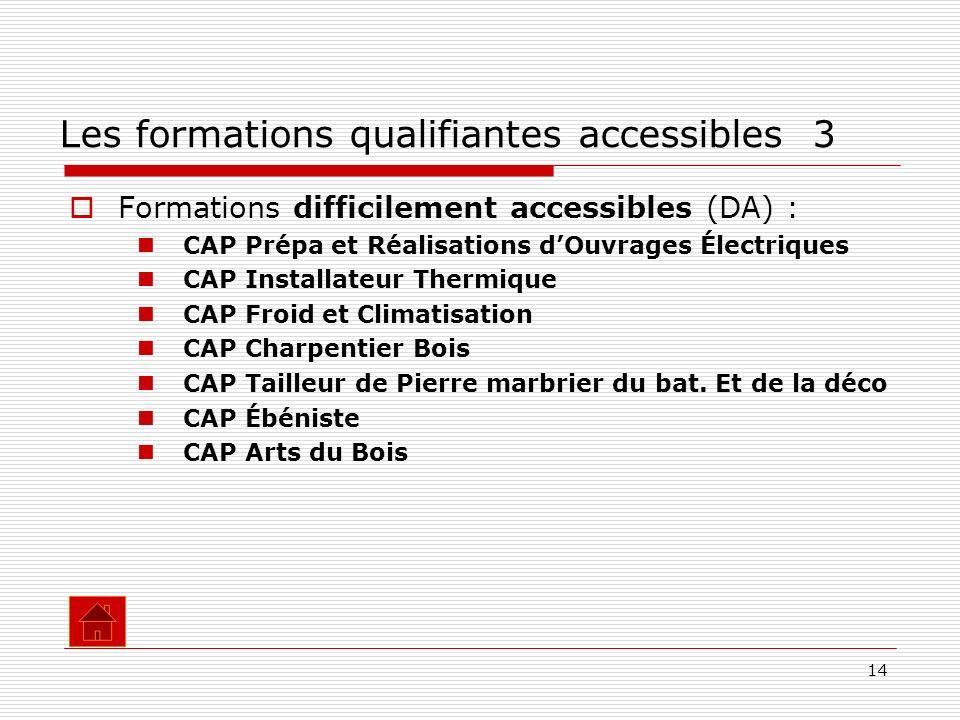 14 Formations difficilement accessibles (DA) : CAP Prépa et Réalisations dOuvrages Électriques CAP Installateur Thermique CAP Froid et Climatisation C