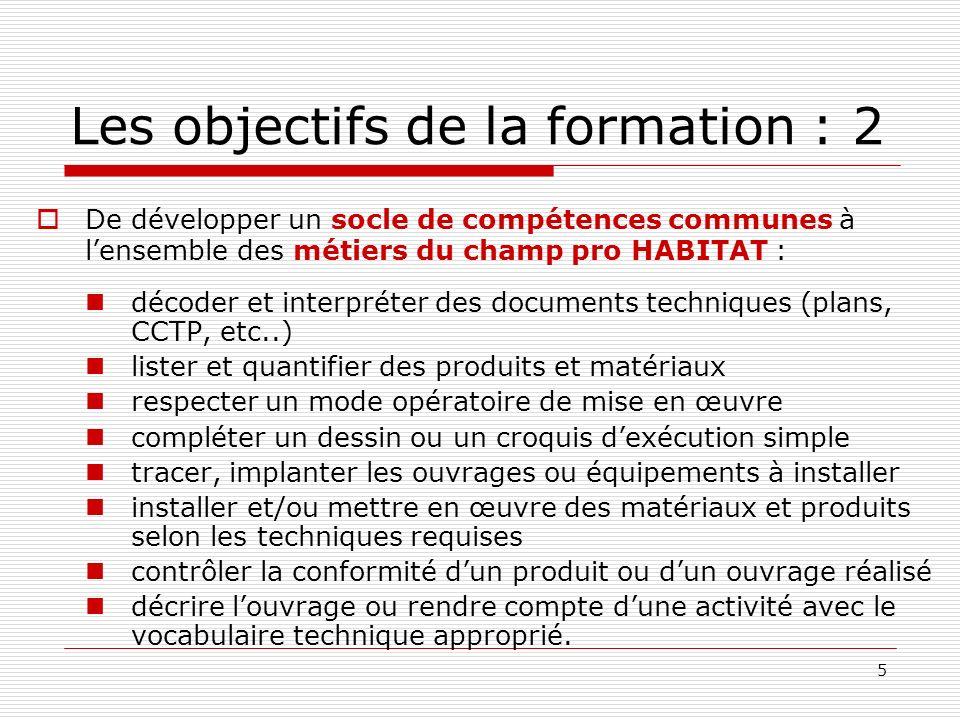 5 De développer un socle de compétences communes à lensemble des métiers du champ pro HABITAT : décoder et interpréter des documents techniques (plans