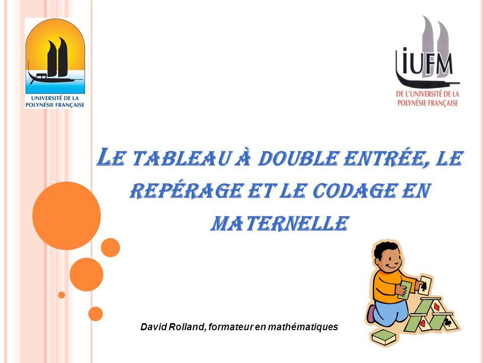 L E TABLEAU À DOUBLE ENTRÉE, LE REPÉRAGE ET LE CODAGE EN MATERNELLE David Rolland, formateur en mathématiques