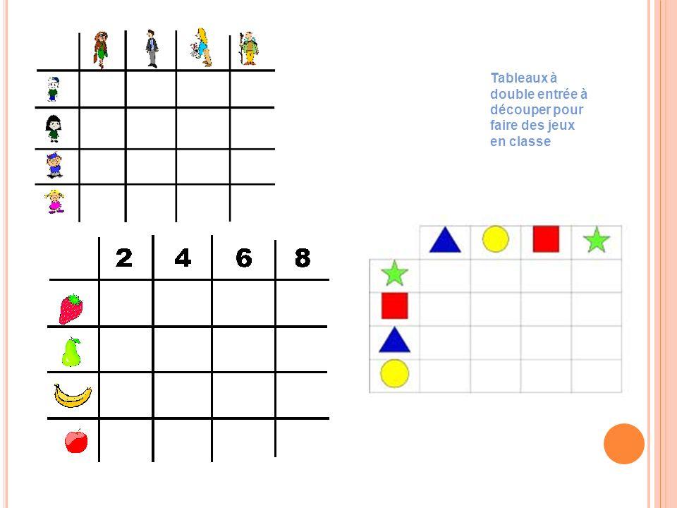Tableaux à double entrée à découper pour faire des jeux en classe