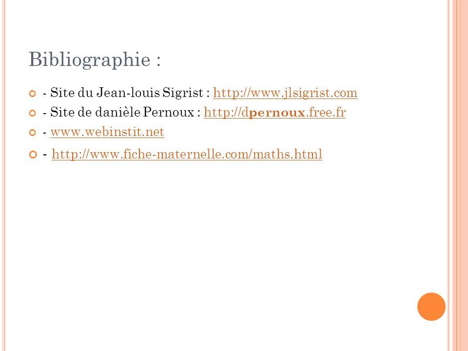 Bibliographie : - Site du Jean-louis Sigrist : http://www.jlsigrist.comhttp://www.jlsigrist.com - Site de danièle Pernoux : http://d pernoux.free.frht
