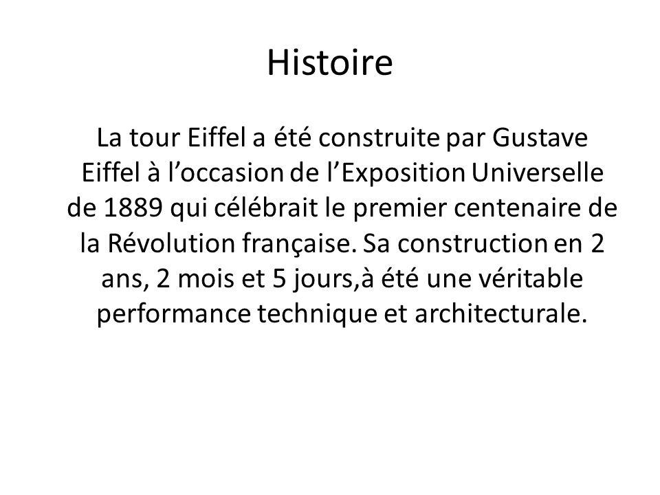La tour Eiffel en Chiffre Visiteurs annuels : près de 7 millions dont 75% détrangers Hauteur : 324 mètres (avec antennes) Poids : 7 300 tonnes pour la charpente métallique, et un poids total de 10 100 tonnes, qui comprend la partie bâtiment et ascenseur Hauteur des étages :1er étage : 57 m ; 2ème étage : 115 m ; 3ème étage : 276 m Nombre dantennes : 120 antennes Nombre de marches par lescalier Est jusquau sommet : 1665 marches Surface à peindre : 250 000 m2 à recouvrir lors de chaque campagne de peinture, tous les 7 ans.