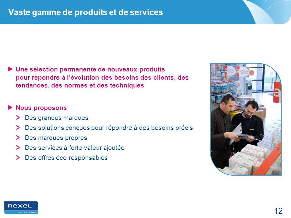 12 Vaste gamme de produits et de services Une sélection permanente de nouveaux produits pour répondre à lévolution des besoins des clients, des tendan