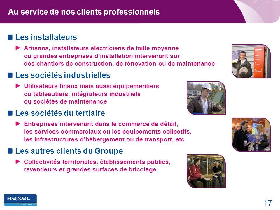 17 Au service de nos clients professionnels Les installateurs Artisans, installateurs électriciens de taille moyenne ou grandes entreprises dinstallat